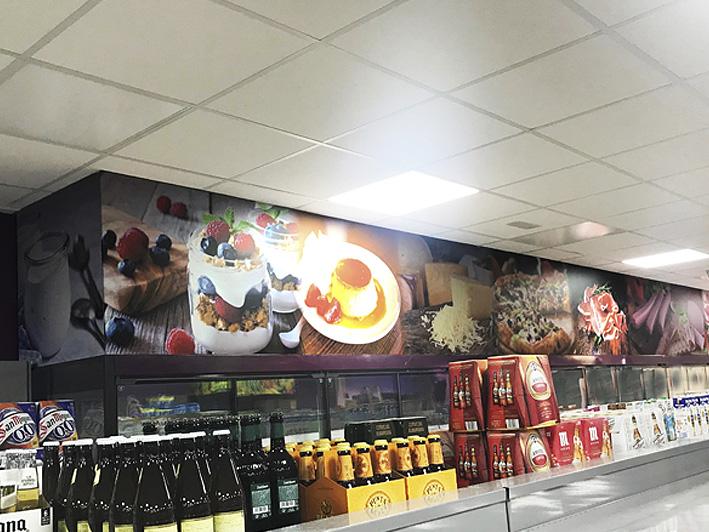 Vinilo decorativo, foto mural, para supermercado