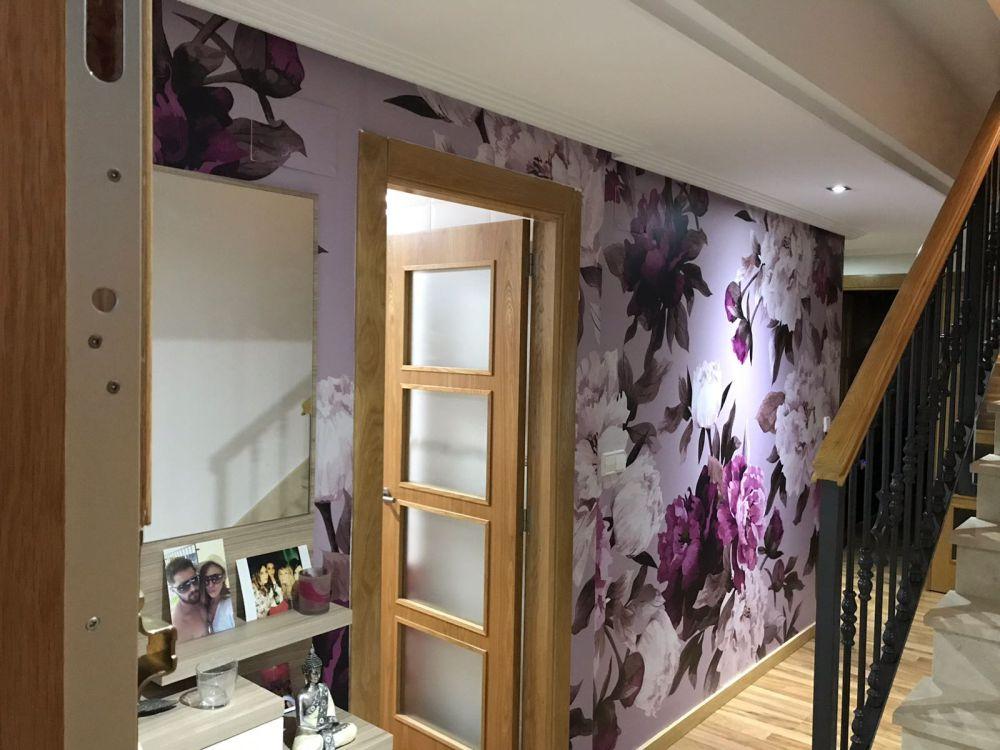 Vinilo Decorativo floral pared pasillo Rótulos Art Design